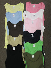 Girls Juniors Ribbed Tank tops SM Med Lg XL 2XL Pink Blue White Black Tan  NWOT