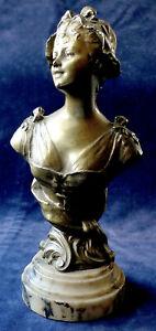 HENRI GODET BRONZE FEMALE BUST STATUE MED D`OR SALON 1893