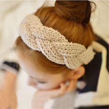 beige  Women twist Soft Hairband Crochet Hair Band Knit Wide Headband