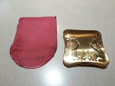 Vintage American Beauty Elgin American Powder Compact, Gold Tone with flowers