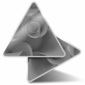2 x Triangle Stickers  10cm - BW - Rose Flower  #42061
