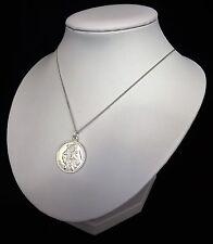 "Sterling Silver 925 Large Saint St Christopher Pendant Travel 16/18/20"" Necklace"
