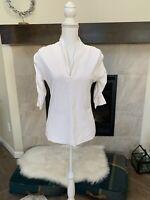 Lyla Renai Womens White Golf Casual Resort Sport 3/4 Sleeve Medium Top B2