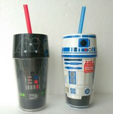 Zak! Designs Insulated Iconic Tumbler with Screw-on Lid Straw Darth Vader & R2D2