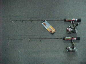 """2 NEW HT POLAR FIRE VORTEX EXTREME ICE FISHING Spinning Combos 26"""" ML"""