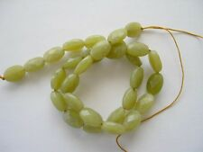 Olive jade faceted oval beads 14x10mm. Green gemstone beads. Full strand