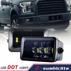Pair 4 Inch Rectangular LED Fog Lights Bumper Black Fits For Ford F150 2015-2019