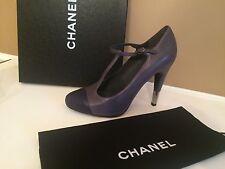 CHANEL Gray Leather CapToe Mary Jane T-Strap Metal Heel Pumps Shoes Sz39.5 $1095