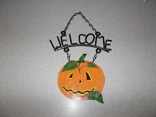 Metal painted Halloween theme jack o lantern pumpkin hanging welcome sign used