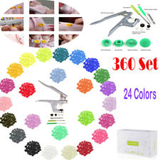 360 Sets Kam Snaps T5 Snap Starter Plastic Poppers Fasteners 1 Pliers 24 Colours