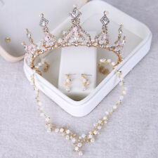 Sparkly Jewelry Set Crown Tiara Necklace Earring Bridal Hair Accessory Prom Gold