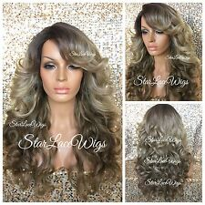 Long Curly Honey Ash Blonde Medium Golden Brown Wig Bangs Side Part Heat Safe Ok
