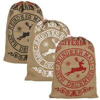 Christmas Santa Sack Large Vintage Hessian Stocking Gift Presents Bag Xmas NEW