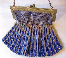 Antique Gold T Frame Acorn Clasp Tan Knit Crochet Royal Blue Glass Bead Purse
