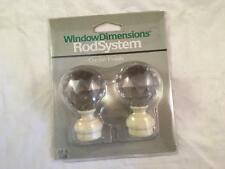 """(1) Pair Crystal Finials Window Dimensions Rod System NRFP New Fits 1/2"""" - 5/8"""""""