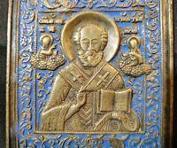 Antique EARLY! Russia Bronze Enamel Orthodox St Nicholas Religious Chudotvorets