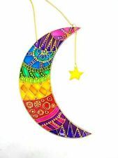 Stained glass handmade Rainbow Star Moon suncatcher Garden Decoration