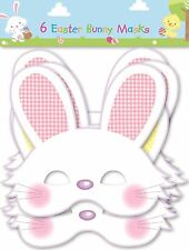6 Easter Bunny Rabbit Mask Rubber Costume Bands Cute Party Gift Kids Play Fun