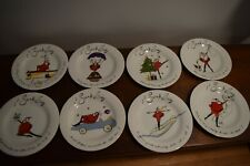 8 POTTERY BARN SANTA BABY PORCELAIN COCKTAIL / DESSERT / SALAD CHRISTMAS PLATES