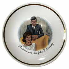"Vintage President and Mrs. John F. Kennedy 1960s Collectors 9"" Plate Gold Trim"