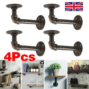 4X Pipe Shelf Brackets Iron Industrial Rustic Wall Floating Shelves Supports NEW