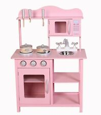 Kids Wooden Play Kitchen in Pink Children's Role Play Pretend Set Toy Kitchen