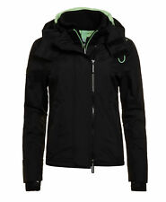 New Womens Superdry Pop Zip Hooded Arctic SD-Windcheater Black