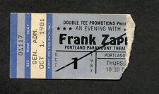 1981 Frank Zappa Concert Ticket Stub Portland OR Shut Up 'n Play Your Guitar