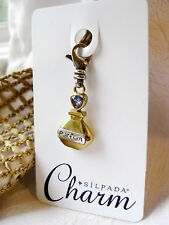 Silpada Charm C2585 Perfume Bottle *  Swarovski Crystal & 925 Sterling Silver