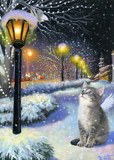 Kitten cat angel fairy lamps Christmas snow winter fantasy OE aceo print art