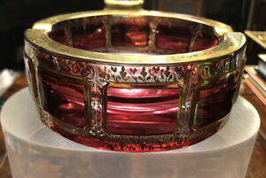 Stunning Cranberry Cut To Clear Bohemian Moser Art Glass Gold Gilt Ashtray 5""
