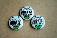 "I survived Area 51 raid Storm 2019 Pin Pinback  Button 1"" alien Dreamland Groom"