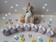 NEW UNICORN Christening Birthday name blocks  Handmade cake decoration topper