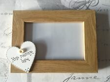 Personalised Photo Frame Wooden Heart Wedding Engagement, Godmother, Godfather