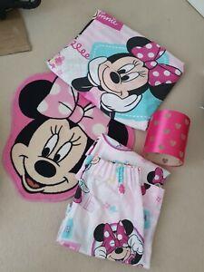 Minnie Mouse Single Duvet set,  Curtain, Rug and light Shade. job lot