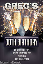 12 x 21st 30th 40th Champagne Splash Glitz Birthday Party Invites + envs H0026