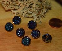 Eyecatcher Glitzer Knopf m. Steg Knöpfe 1cm 10mm 5 Stück NEU Blau