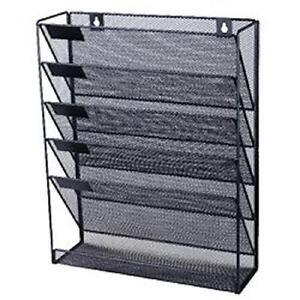 Desktop Filing Tray Sorter A4 Document Organiser Home Office Storage Wall Black
