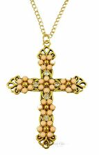 Vintage Gold Cross Crucifix Crystal Pink Bead Jewellery Necklace