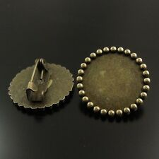 24PCS Antiqued Bronze Alloy Round Photo Frame Pin Brooch Pendant Charms 38342
