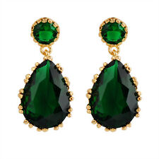 Fashion Green Pear Drop/Dangle Earrings Women's 10Kt Yellow Gold Filled Wedding