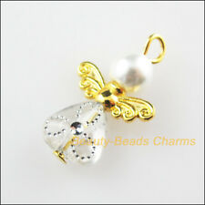 10Pcs Gold Plated Wings White Heart Dancing Angel Charms Pendants 14x22mm