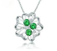 14k White Gold Over 2.50Ct Emerald & Diamonds Flower Pendant 18''Chain Necklace