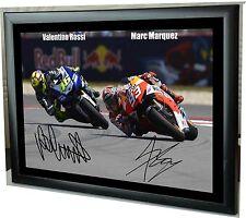 """Valentino Rossi Marc Márquez Lienzo Enmarcado MotoGP impresión firmada homenaje """"Regalo"""""""
