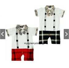 Baby Suspender Rompers with Bowtie Brry