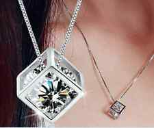 925 Sterling Silver AAAA Crystal Cube Pendant Necklace Women's Fashion Jewellery