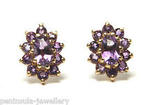 9ct Gold Amethyst Cluster Studs Earrings Made in UK Gift Boxed