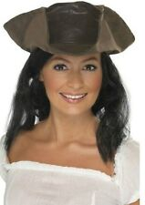 Unisex Mens Womens Leather Look Brown Pirate Hat Hair Fancy Dress Fun Accessory