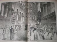 Enthronement Edward Benson new Archbishop Canterbury Cathedral 1883 old print