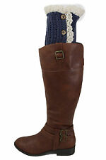 Women Boots Cover Topper Pair Blue Fabric Slip Ons Booties Warmer Knit Crochet